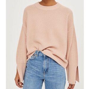 Topshop Waffle Knit Slit Sleeve Sweater Pink - 6